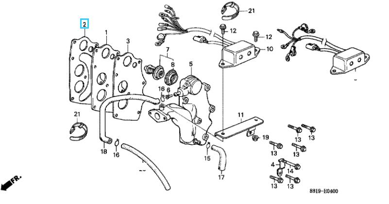 Honda GASKET, EX. CHAMBER 12516-881-003