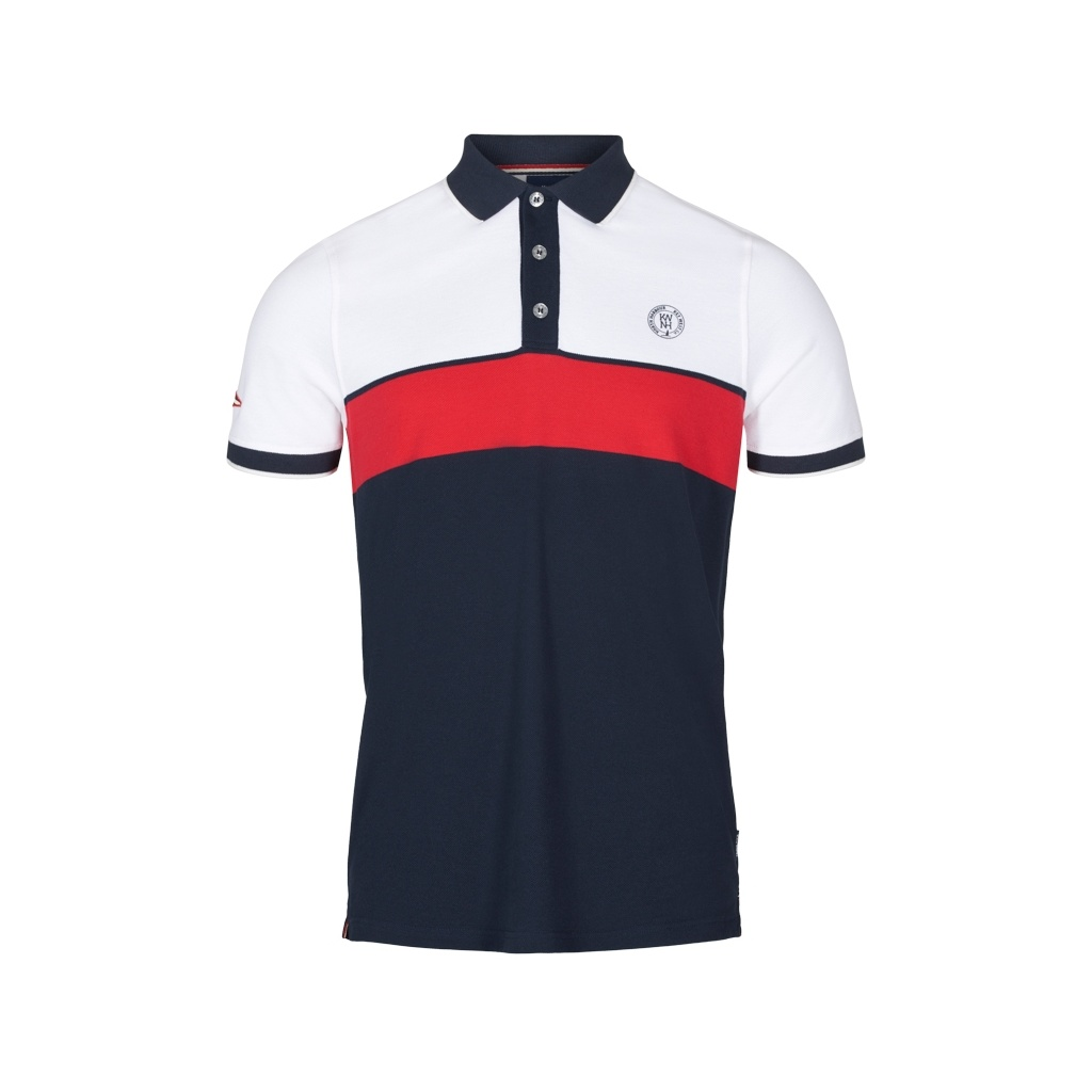 Key West Alban Herre Polo White/Red/Navy Str. M