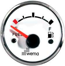 WEMA brændstof instrument 0-190ohm 52mm hvid