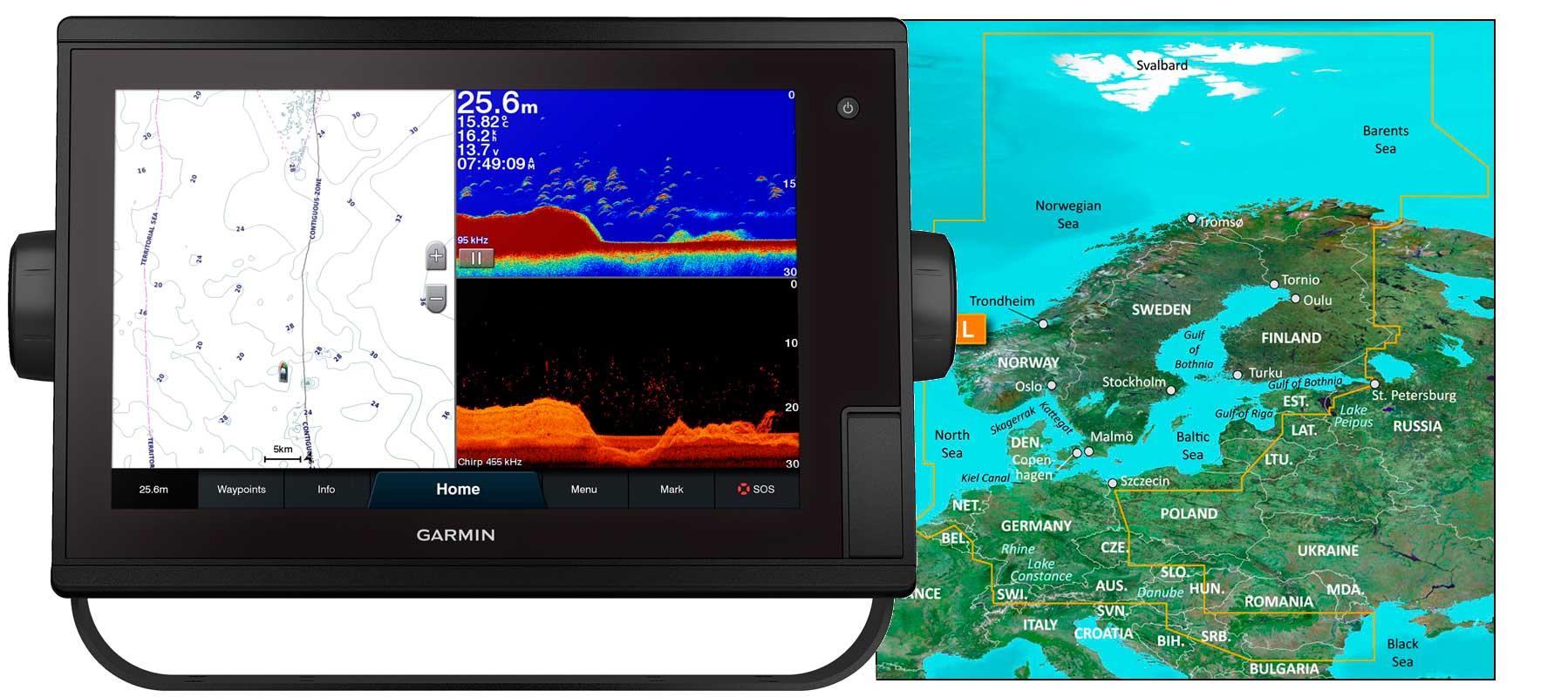 Garmin GPSmap 1222xsv Plus med veu721L søkort