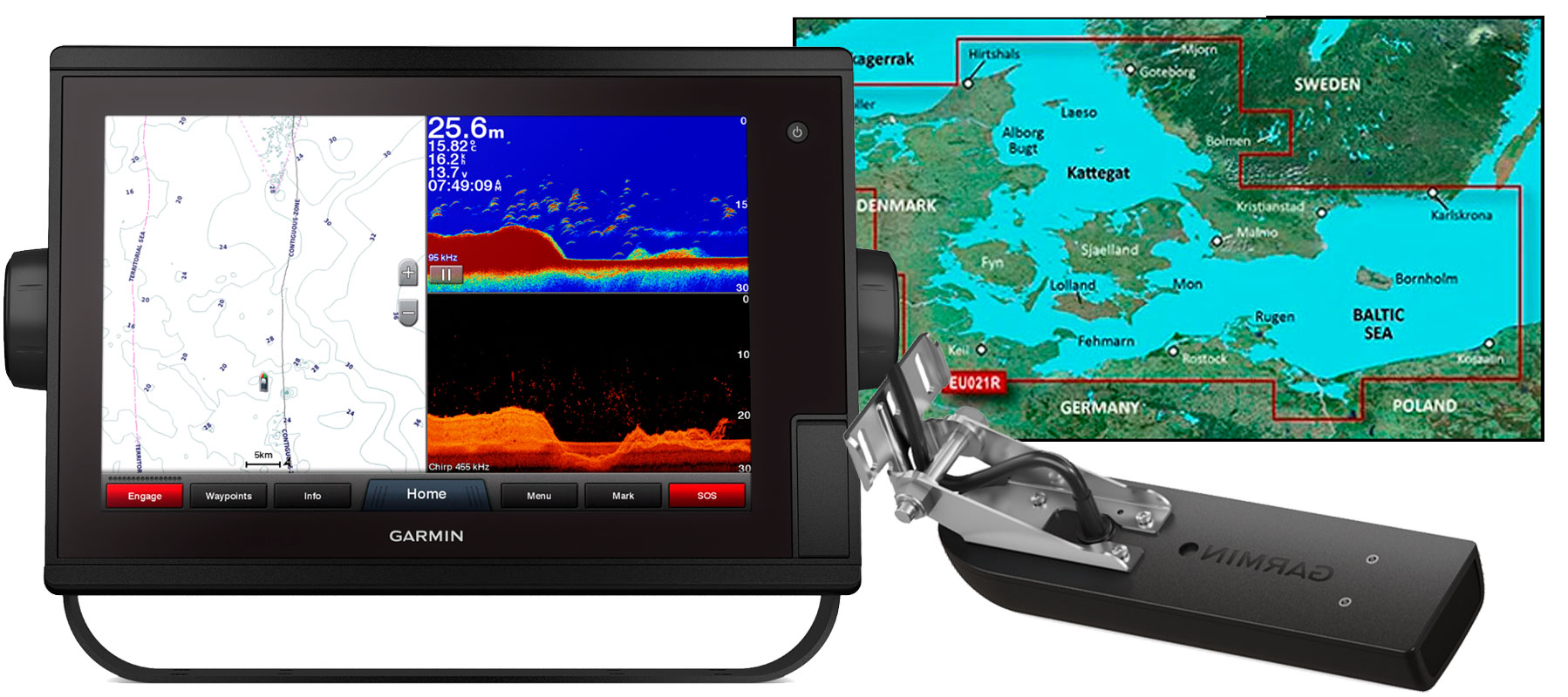 Garmin GPSmap 1222xsv Plus, hxe021r og GT51M-TM
