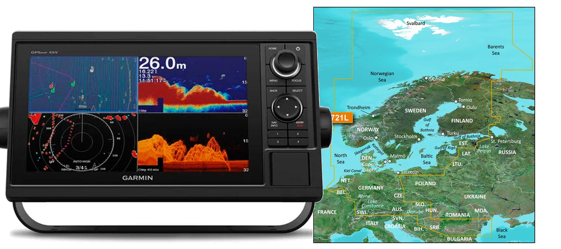 Garmin GPSmap 1022xsv med VEU721L søkort