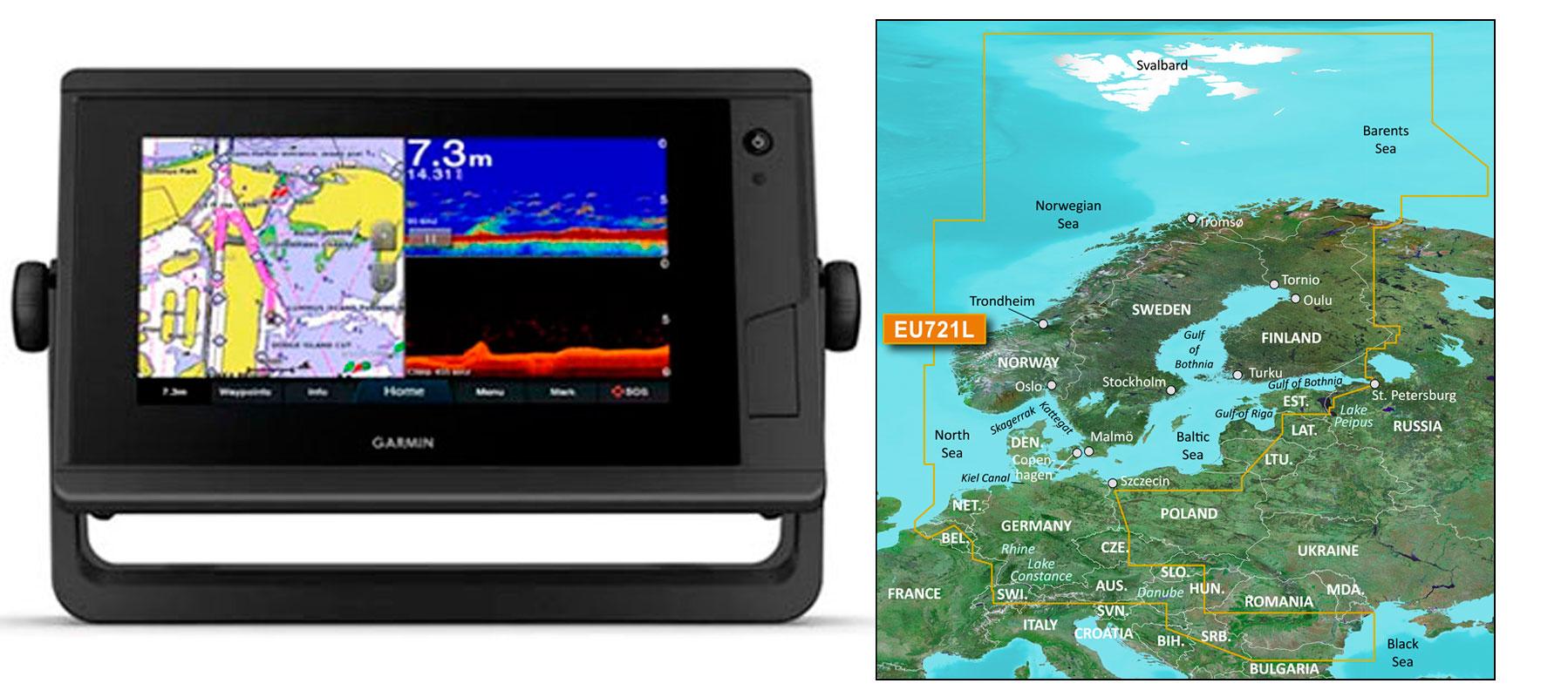 Garmin GPSmap 722xs Plus med veu721L søkort