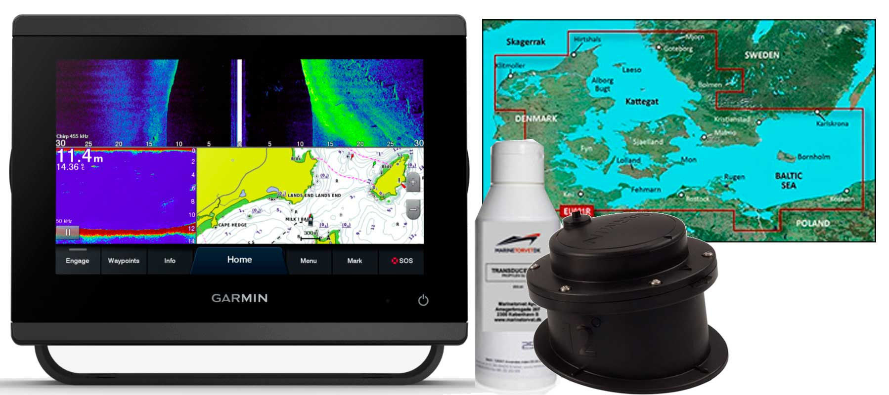 Garmin GPSmap 723xsv, GT15M-IH og HXEU021R
