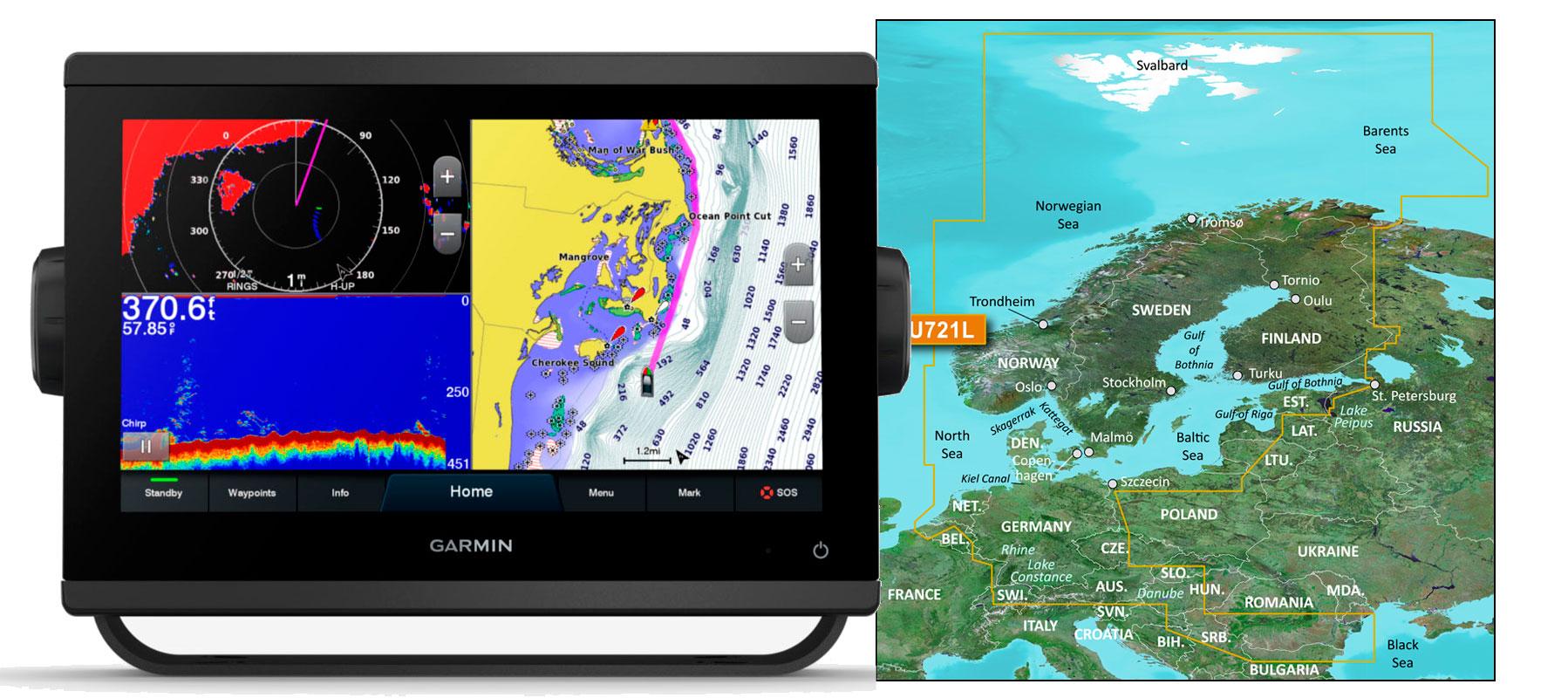 Garmin GPSmap 923xsv med VEU721L søkort