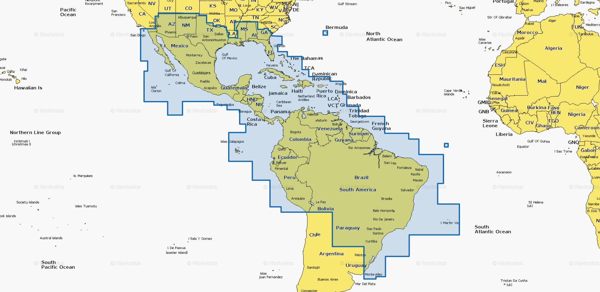 navionics +4XG mexico,caribbean,Brazil MSD kort