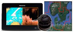 Raymarine Axiom 7 DV, CPT-S transducer 45XG søkort