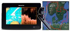 Raymarine Axiom 7 DV, transducer og 45XG søkort