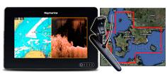 Raymarine Axiom 7 DV, transducer og lokalt søkort