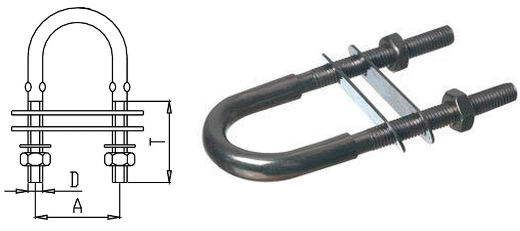 U bøjle gods 8mm, gevind 6mm afstand 35mm
